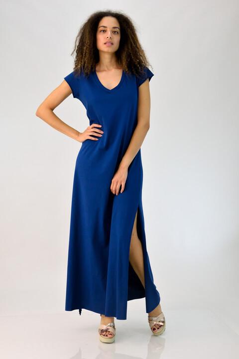 Μακρύ φόρεμα με V λαιμόκοψη - Μπλε