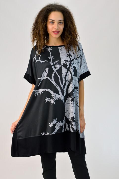 Μπλουζοφόρεμα με κοντό μανίκι - Μαύρο