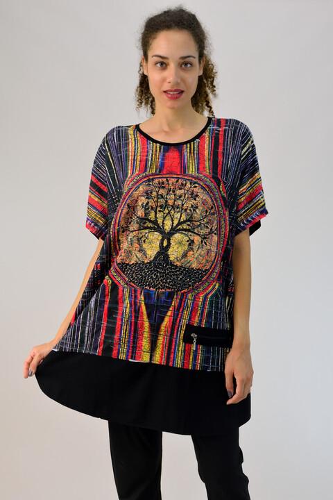 """Μπλουζοφόρεμα """"δέντρο της ζωής"""" - Μαύρο"""