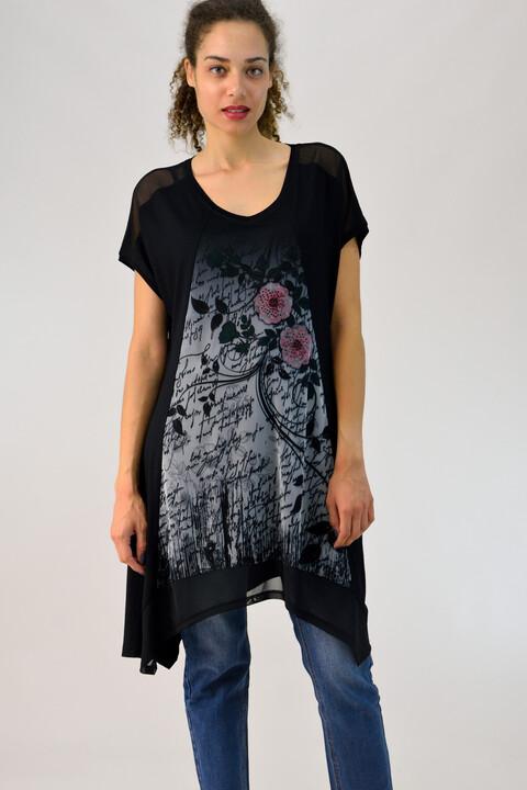 Μπλουζοφόρεμα με τύπωμα και διαφάνεια - Μαύρο