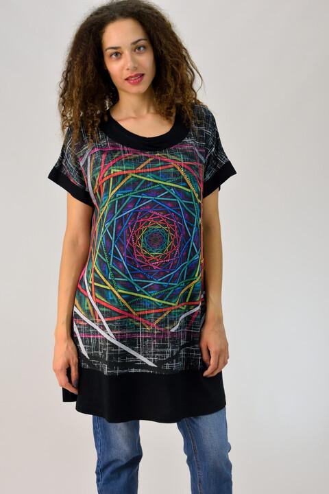 Μπλουζοφόρεμα με τύπωμα και στρας - Μαύρο