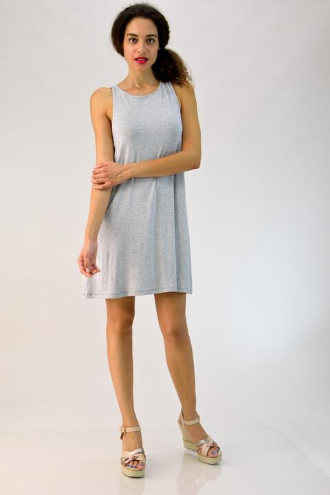 """Φόρεμα αμάνικο με άνοιγμα τύπου """"δάκρυ"""" - Γκρι"""
