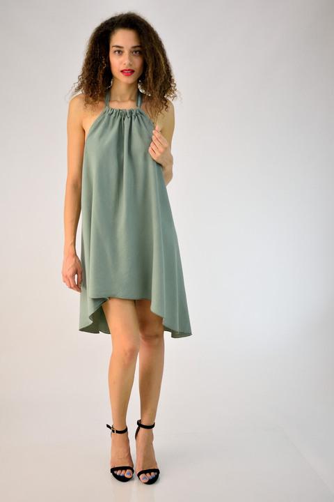Μίνι φόρεμα με δέσιμο στον λαιμό - Γκρι