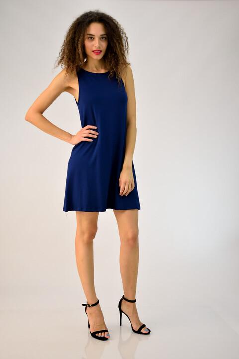 """Φόρεμα αμάνικο με άνοιγμα τύπου """"δάκρυ"""" - Μπλε Σκούρο"""