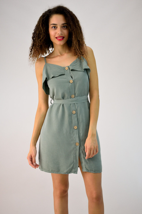 Φόρεμα μίνι με ζώνη και κουμπιά - Γκρι