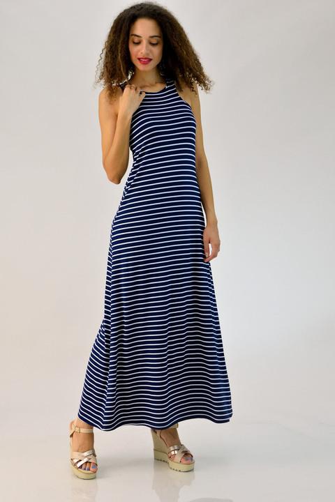 """Φόρεμα μάξι με άνοιγμα τύπου """"δάκρυ"""" - Μπλε Σκούρο"""