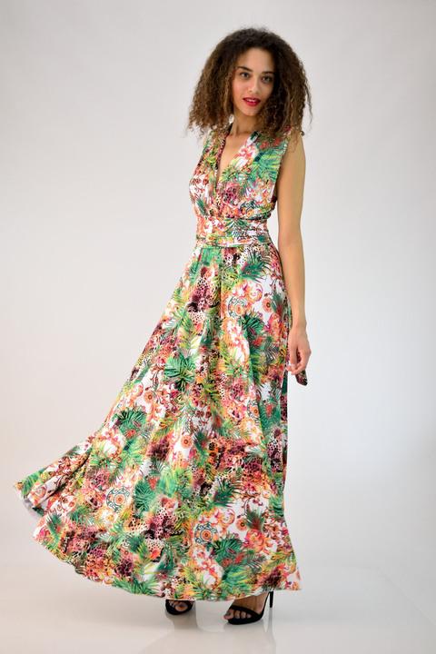 Πολυμορφικό φόρεμα φλοράλ - Πράσινο