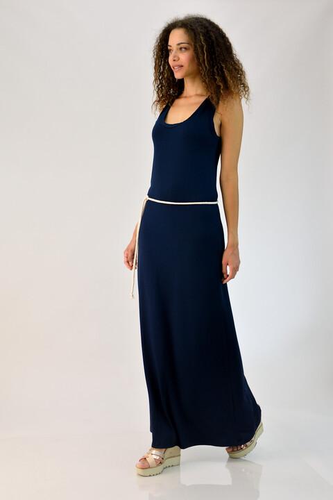 Φόρεμα με αθλητική πλάτη και ζώνη - Μπλε Σκούρο