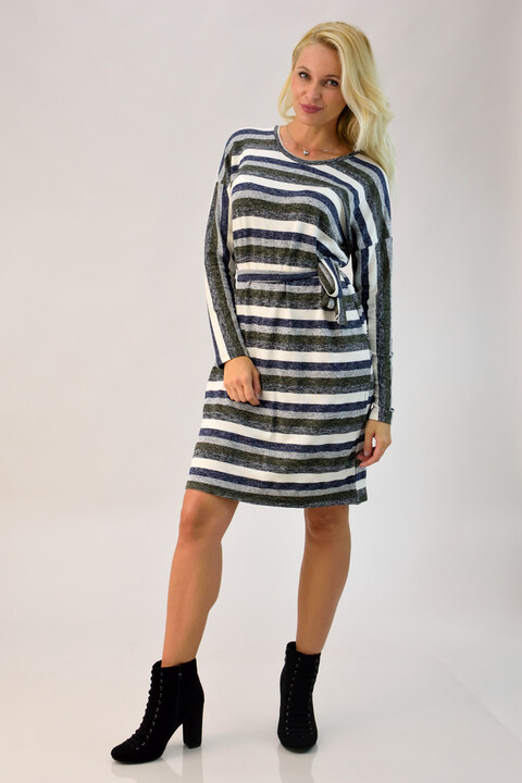 Φόρεμα ριγέ με ζώνη - Μπλε Σκούρο