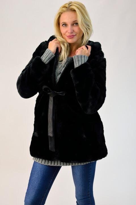 Παλτό από συνθετική γούνα με κουκούλα - Μαύρο