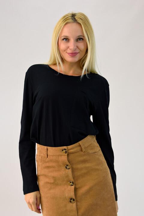 Μπλούζα με τσέπη - Μαύρο