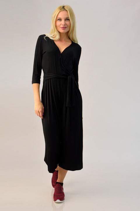 Ολόσωμη φόρμα κρουαζέ με ζώνη - Μαύρο