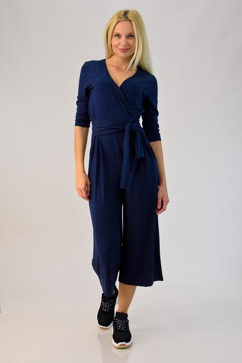 Ολόσωμη φόρμα κρουαζέ με ζώνη - Μπλε Σκούρο