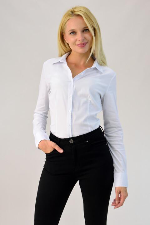 Γυναικείο πουκάμισο κορμάκι - Λευκό