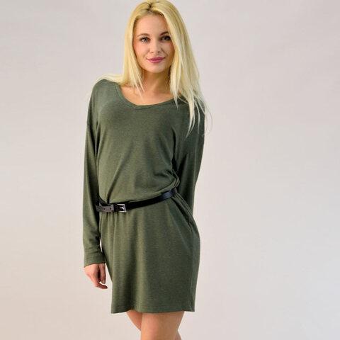 Μακρυμάνικο πλεκτό φόρεμα με ζώνη