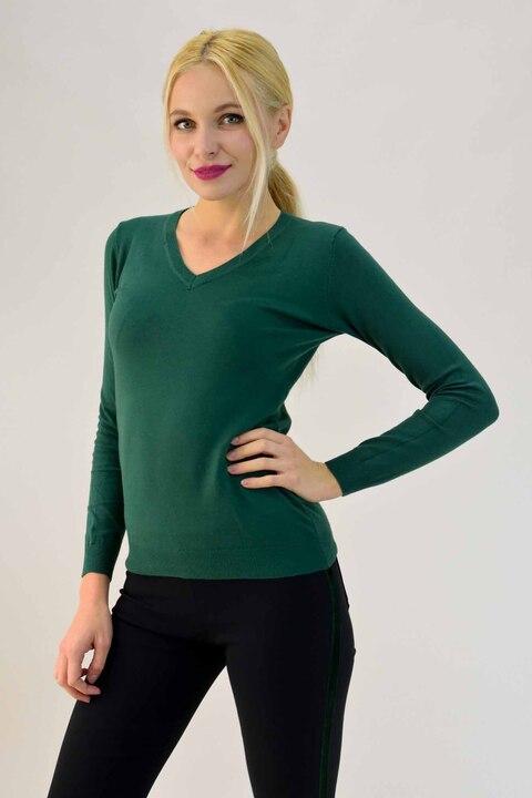 Λεπτή πλεκτή μπλούζα με V λαιμόκοψη - Πράσινο