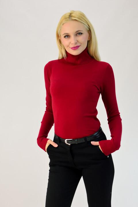 Λεπτή πλεκτή μπλούζα ζιβάγκο - Μπορντώ