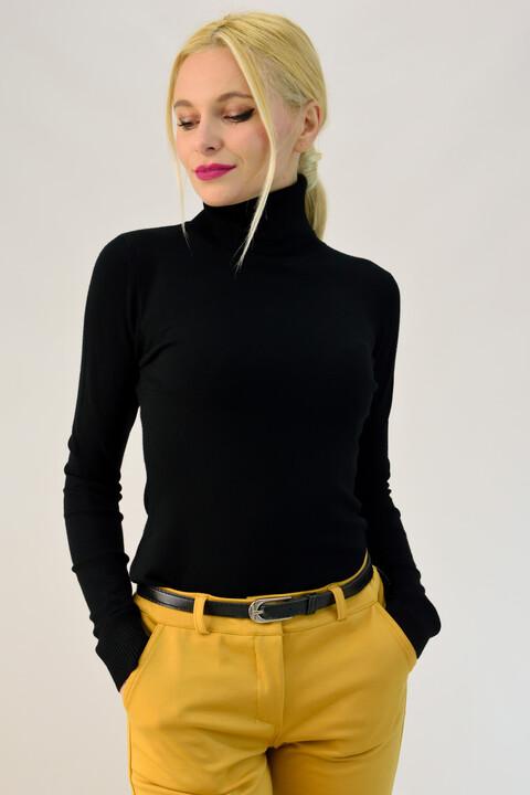 Γυναικείο λεπτό πλεκτό basic ζιβάγκο - Μαύρο