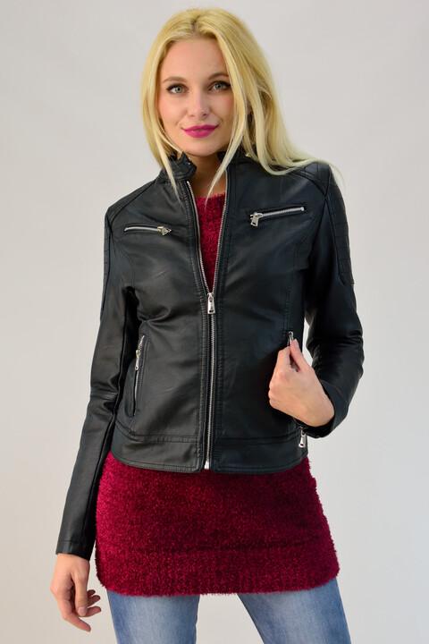 Γυναικείο jacket δερματίνης με τσέπες - Μαύρο
