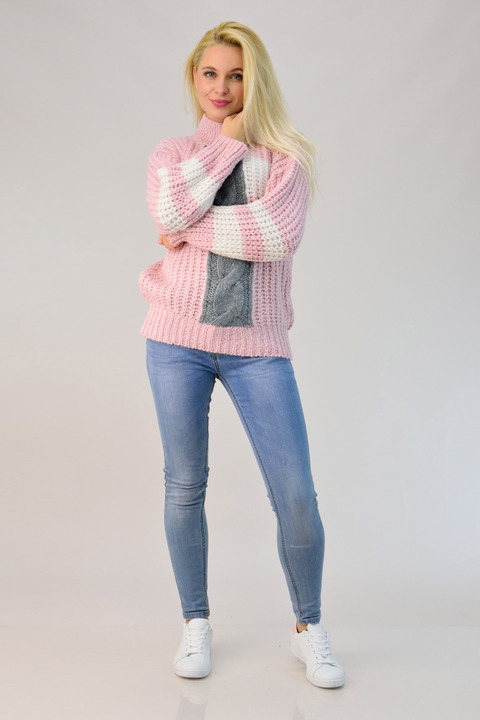 Γυναικείο πλεκτό με ψηλό γιακά - Απαλό Ροζ