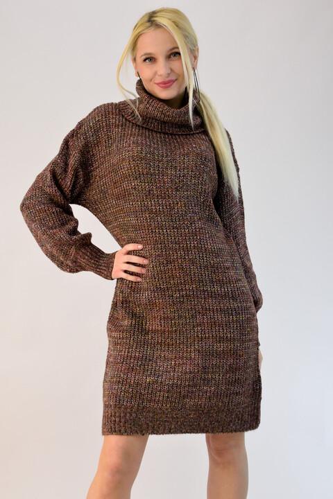 Πλεκτό φόρεμα ζιβάγκο με πολύχρωμη πλέξη - Καφέ