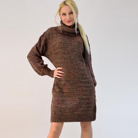 Πλεκτό φόρεμα ζιβάγκο με πολύχρωμη πλέξη