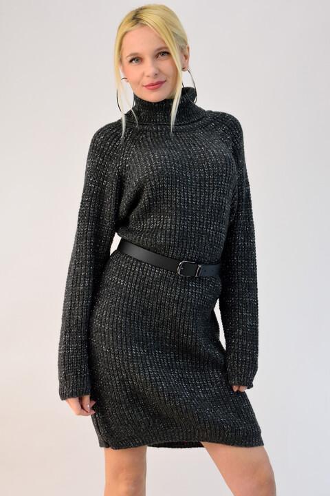 Πλεκτό φόρεμα ζιβάγκο λούρεξ - Ανθρακί