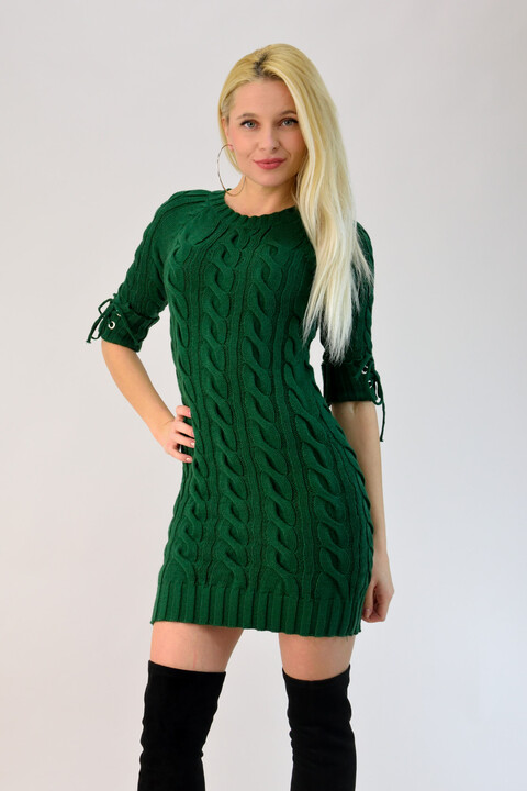 Γυναικείο πλεκτό φόρεμα μίνι - Κυπαρισσί
