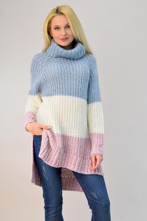 Πλεκτό πουλόβερ ζιβάγκο πολύχρωμο - Γαλάζιο