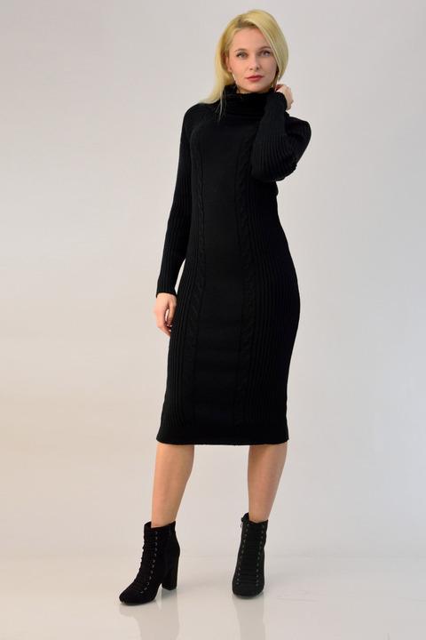 Midi πλεκτό φόρεμα ζιβάγκο - Μαύρο