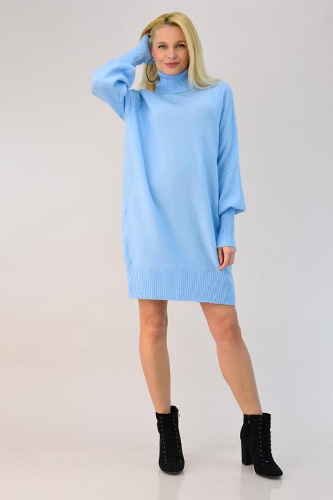 Γυναικείο πλεκτό φόρεμα oversized - Γαλάζιο
