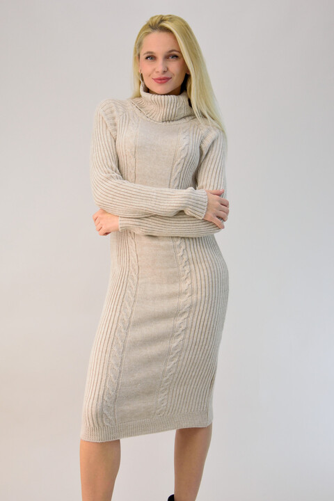 Midi πλεκτό φόρεμα ζιβάγκο - Μπεζ