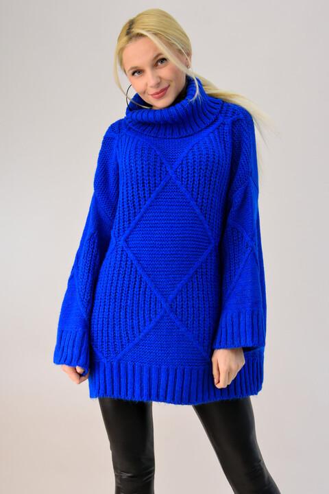 Πλεκτή μπλούζα oversized ζιβάγκο - Μπλε Ρουά