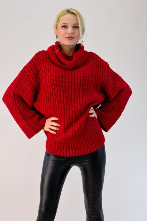 Γυναικεία πλεκτή μπλούζα ζιβάγκο oversized  - Κόκκινο