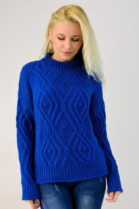 Γυναικείο πλεκτό πουλόβερ με πλεξούδα - Μπλε Ρουά