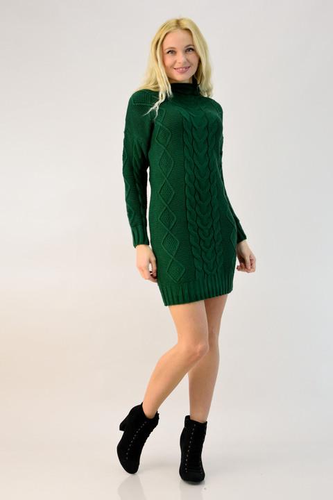 Πλεκτό φόρεμα μίνι με ψηλό γιακά - Κυπαρισσί
