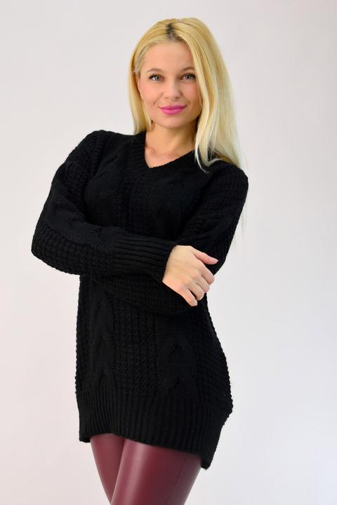 Γυναικείο πλεκτό oversized με πλεξούδα - Μαύρο