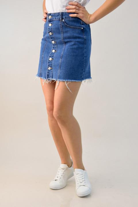 Γυναικεία τζιν φούστα με κουμπιά - Μπλε Τζιν