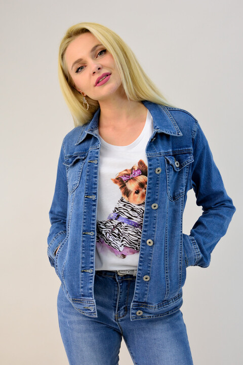 Γυναικείο μπουφάν τζιν - Μπλε Τζιν ... ca7ccdcdfbc