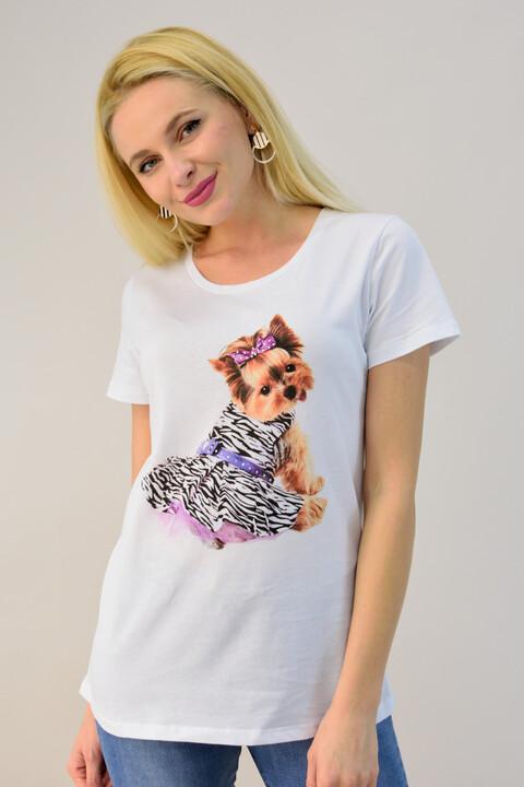 Γυναικεία μπλούζα με τύπωμα σκυλάκι - Λευκό
