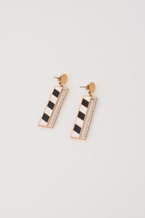 Γυναικεία σκουλαρίκια με ρίγα - Χρυσό