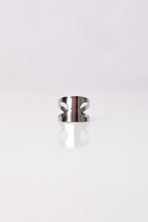 Δακτυλίδι από ατσάλι με ανοίγματα - Ασημένιο