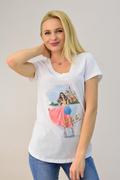 """Γυναικεία μπλούζα με τύπωμα """"oh la la"""" - Λευκό"""