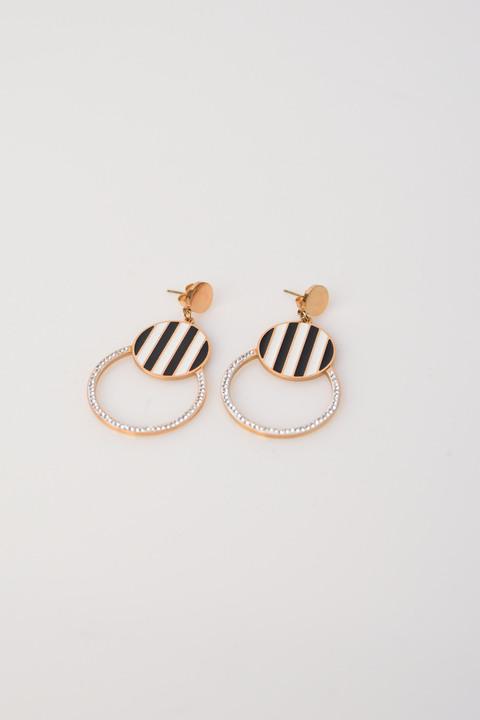 Σκουλαρίκια με ρίγα και στρας - Χρυσό