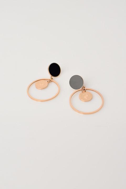 Γυναικεία σκουλαρίκια με φλουρί - Χρυσό