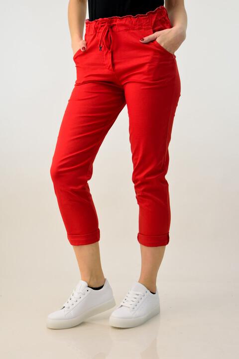 Παντελόνι υφασμάτινο με ρεβέρ - Κόκκινο