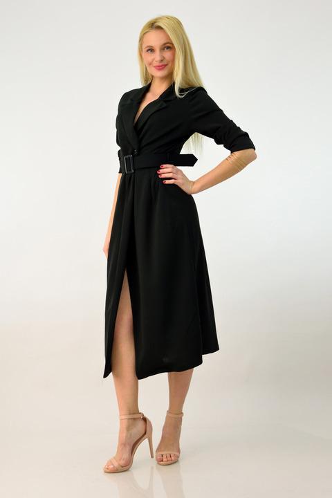 Φόρεμα midi με ζώνη και άνοιγμα - Μαύρο