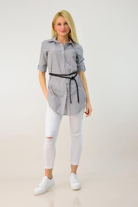 Γυναικείο πουκάμισο ριγέ με ζώνη - Ανθρακί