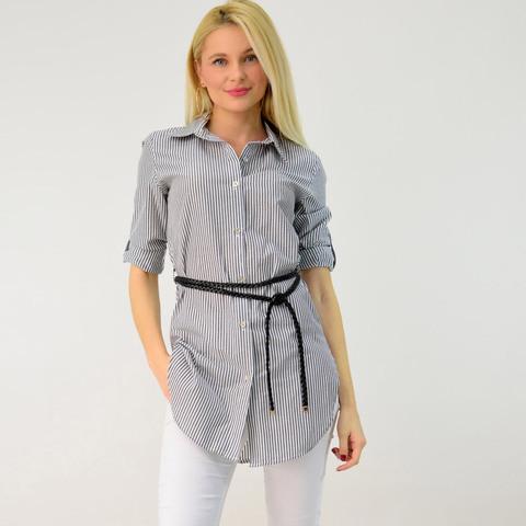 Γυναικείο πουκάμισο ριγέ με ζώνη