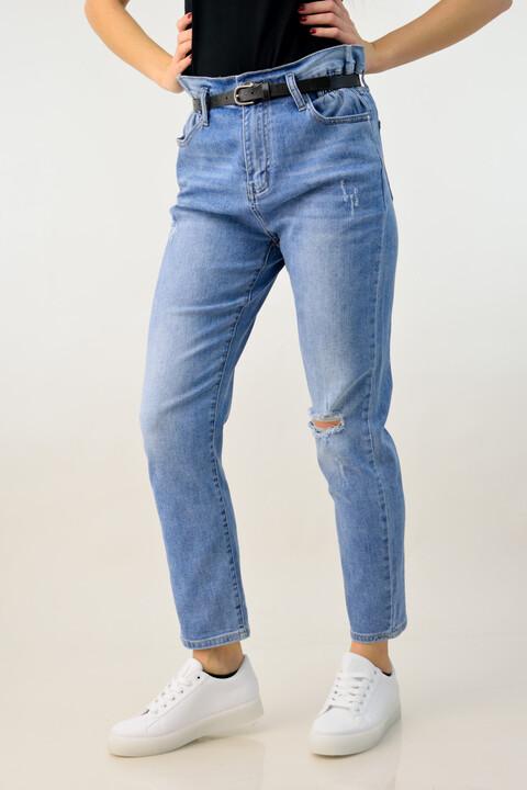 Παντελόνι τζιν ψηλόμεσο με ζώνη - Μπλε Τζιν